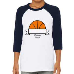 Camdenton Lakers Basketball - Youth 3/4-Sleeve Baseball T-Shirt Thumbnail