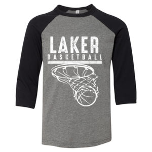 Camdenton Lakers Basketball - Youth Three-Quarter Sleeve Baseball Tee Thumbnail